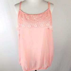Torrid Pink Lace Crepe Embroidered Ruffle Tank NWT